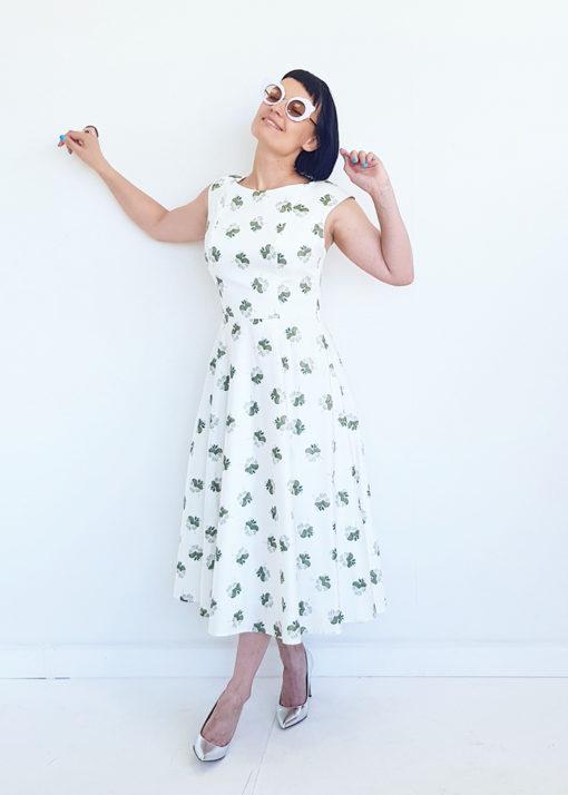 Белое хлопковое платье с принтом вид3
