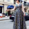 Длинное хлопковое графичное платье