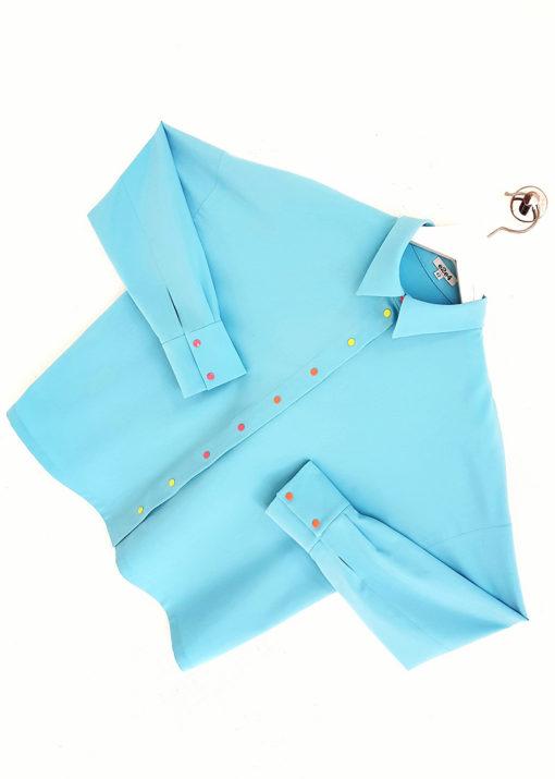 Голубая рубашка свободного кроя вид2
