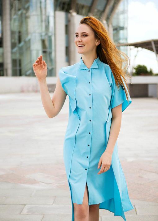 Голубое прямое платье вид2