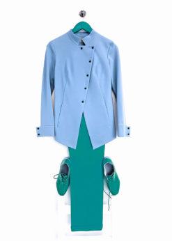 Голубой трикотажный жакет