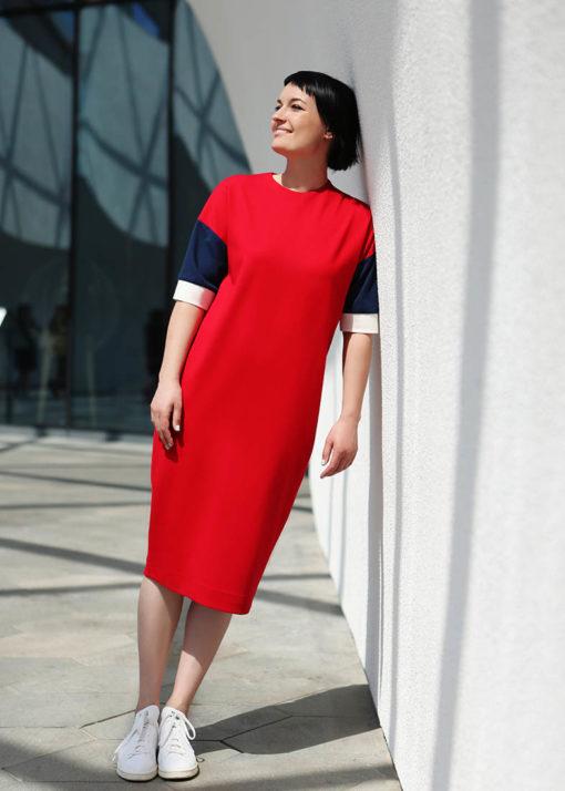Красно-синее платье вид2