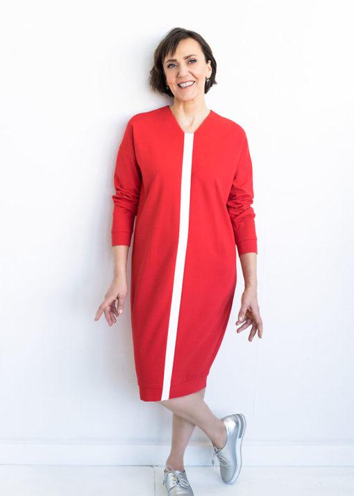 Красное двухцветное платье вид2