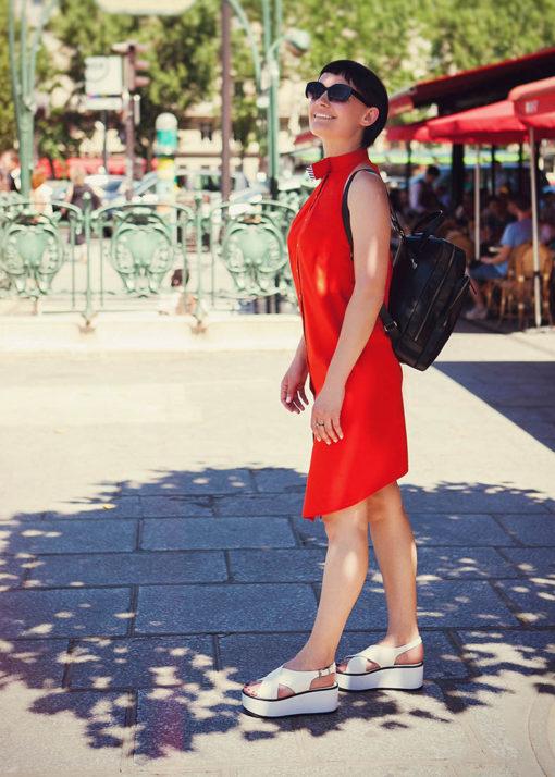 Красное прямое платье вид2