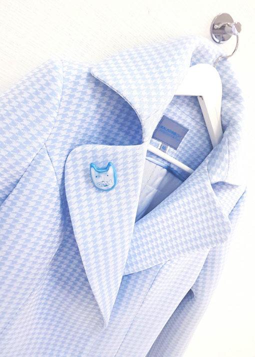 Нежно-синее пальто вид2