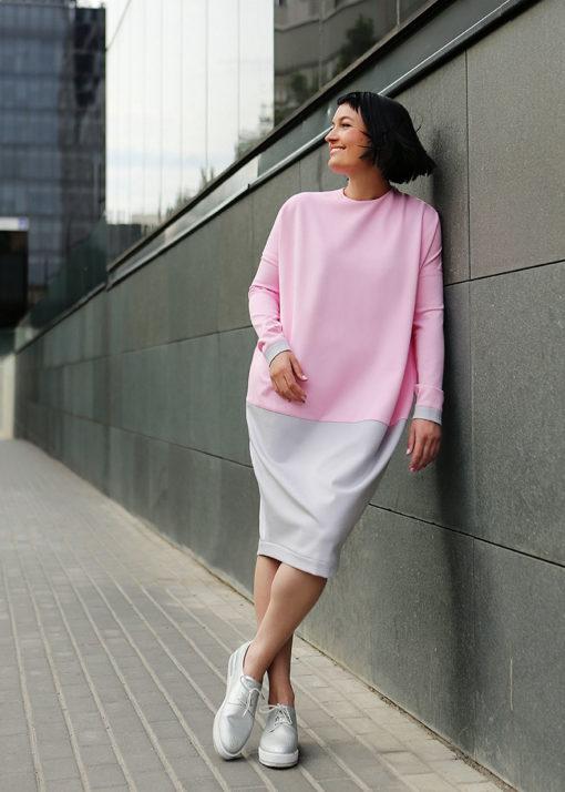 Розово-серое платье