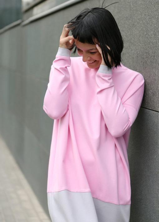 Розово-серое платье вид3