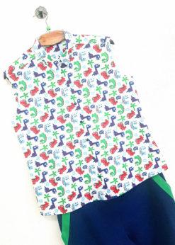 Рубашка с трехцветным принтом