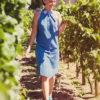 Синее хлопковое платье