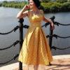 Желтое пышное платье