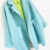 Голубое свободное пальто
