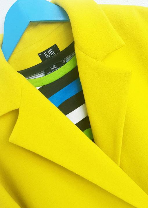 Желтое свободное пальто вид4