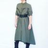 Длинное хлопковое платье цвета хаки
