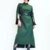 Длинное хлопковое зеленое платье