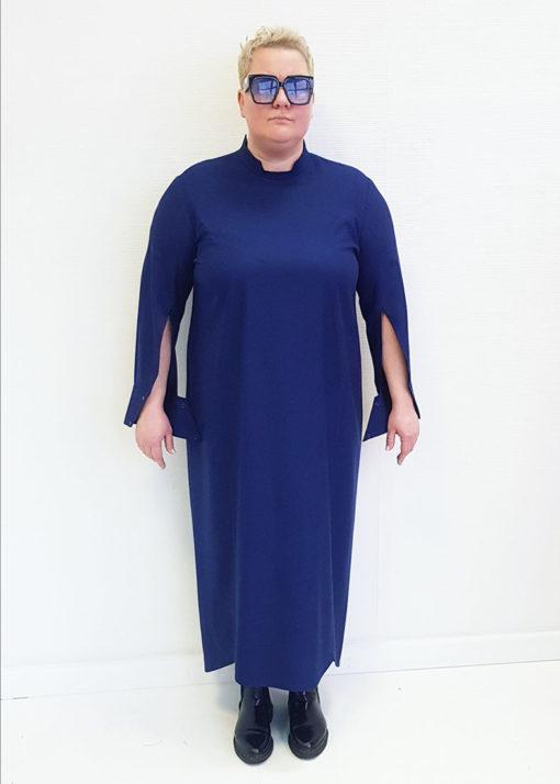 Темно-синее платье-рубашка с длинным рукавом
