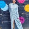Длинное батистовое платье-рубашка