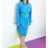Голубое графичное платье-рубашка