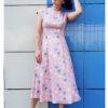Платье пудровое с принтом