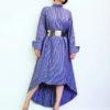 Сиреневое полосатое платье-рубашка