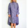 Сиреневое полосатое платье-рубашка вид4