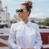Белая рубашка необычного кроя вид5