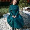 Тёмно-зелёное платье с принтом
